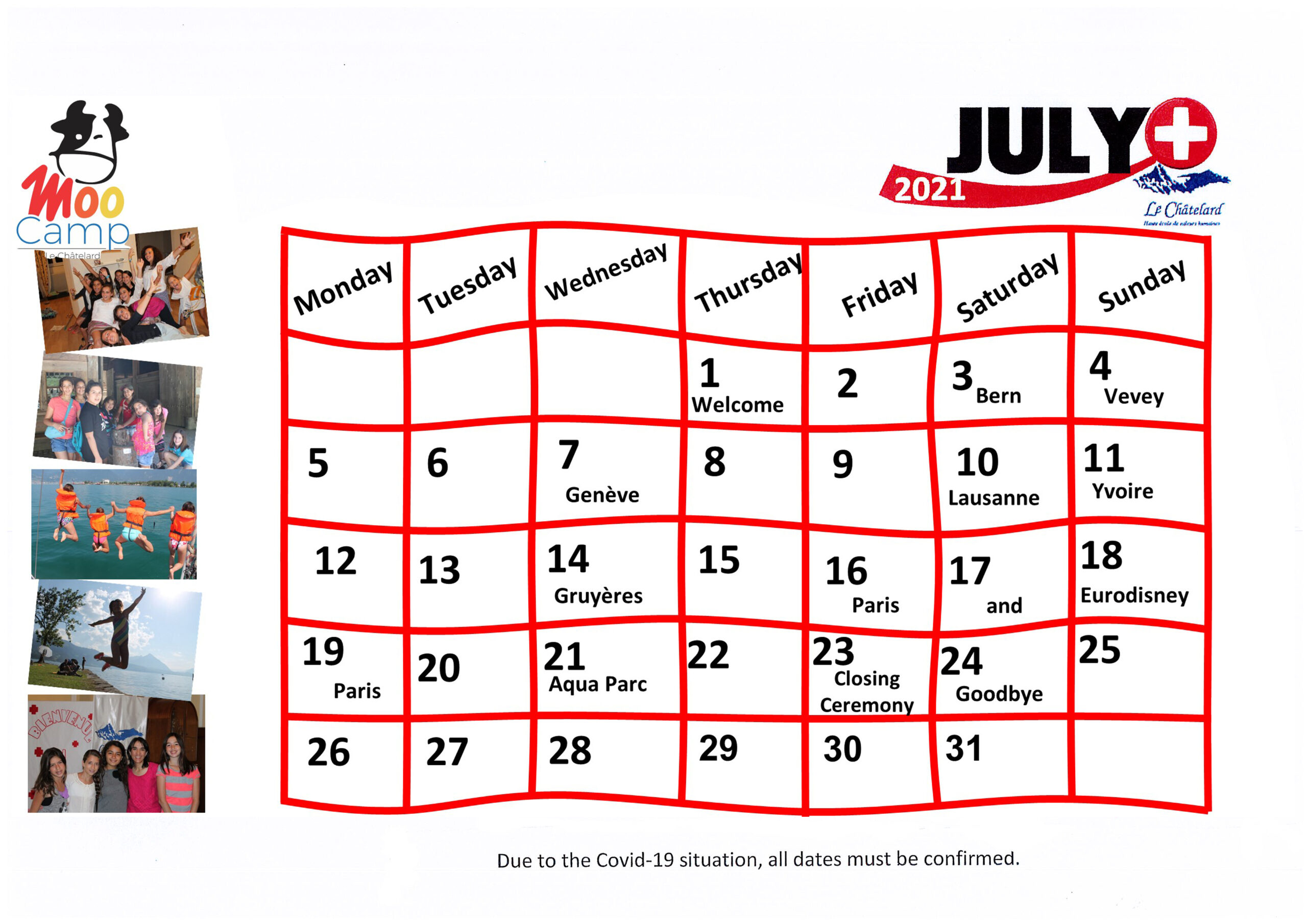Calendario Moo Camp 2021